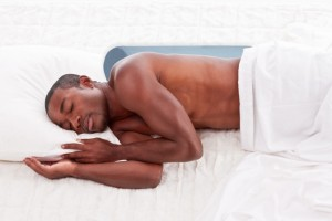 Anti snore pillow moves back snorers toward side sleepers