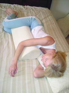 Sleeping on stomach is corrected using Teardrop Body Support Pillow